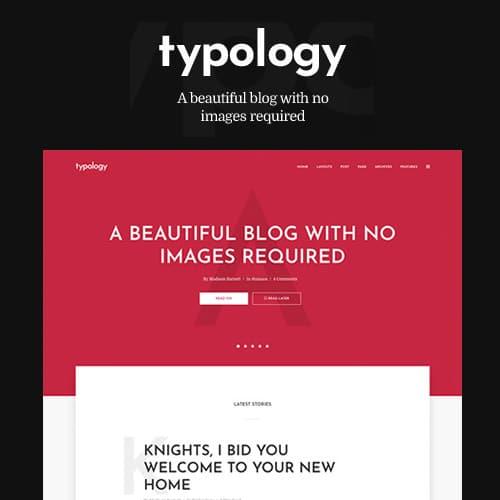 Typology Text Based Minimal WordPress Blog Theme