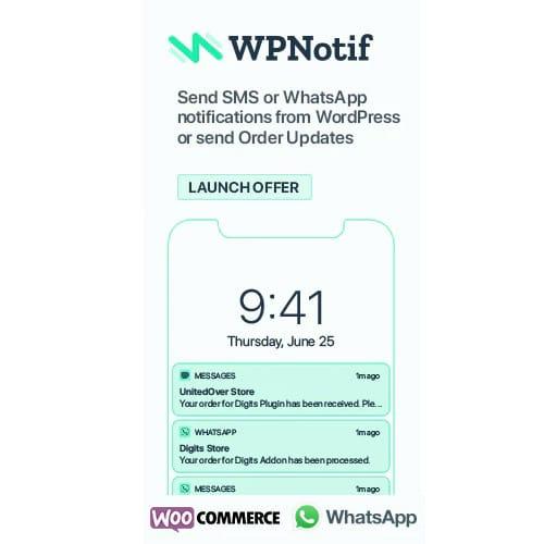 WPNotif WordPress SMS WhatsApp Message Notifications
